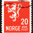 Postage stamp Norway 1937 Lion Rampant, Norwegian Lion - Stock Photo