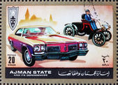 Postage stamp Ajman 1972 Ford, Cars Then and Now — Stock Photo