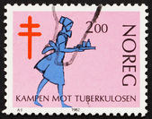 Postage stamp Norway 1982 Nurse, Fight against Tuberculosis — Stock Photo