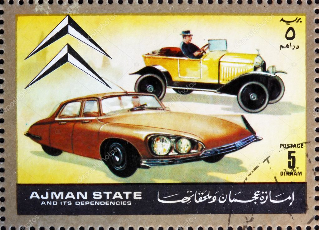AJMAN - CIRCA 1972: a stamp printed in the Ajman shows Citroen, Cars Then and Now, circa 1972 — Stock Photo #11460712