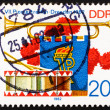 Stock Photo: Postage stamp GDR 1982 Bugle, Pennant and Drum