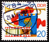 Postage stamp GDR 1982 Bugle, Pennant and Drum — Stock Photo