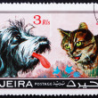 Postage stamp Fujeira 1971 Dog and Cat, Pets - Lizenzfreies Foto