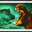 Postage stamp Chad 1972 Hippopotamuses, African Wild Animals - Stock Photo