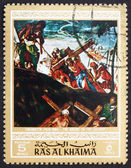 Postage stamp Ras al-Khaimah 1970 The Ascent to Calvary, Paintin — Stock Photo