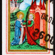 Postage stamp Sweden 1976 Virgin Mary Visiting St. Elizabeth - Stock Photo