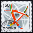 Postage stamp Poland 1976 Atom Symbol and Flags — Stock Photo