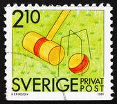 Postzegel zweden 1989 croquet, zomersport — Stockfoto
