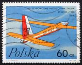 Bouffon pologne 1968 timbre-poste de zéphyr, planeur polonais — Photo
