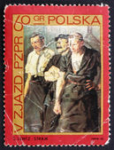 Postage stamp Poland 1968 Strikers by Stanislaw Lentz — Stock Photo