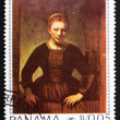 Postage stamp Panam1967 Maiden in Doorway by Rembrandt — Stock Photo #11596698