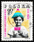 Postage stamp Poland 1968 Child Holding Symbolic Stamp — Stock Photo