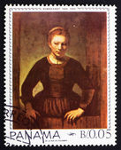 Postage stamp Panama 1967 Maiden in the Doorway by Rembrandt — Stock Photo