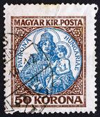 Poštovní známka maďarsko 1921 madona a dítě — Stock fotografie