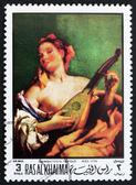 Postage stamp Ras al-Khaimah 1970 Woman with a Mandolin by Tiepo — Stock Photo