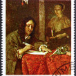 Postage stamp Burundi 1968 Man Writing a Letter by Gabriel Metsu — Stock Photo