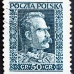 selo postal Polónia 1928 Marechal pilsudski, chefe de estado, sta — Foto Stock