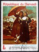 Postage stamp Burundi 1968 Women, Along the Manzanares by Goya — Stock Photo