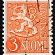Stock Photo: Postage stamp Finland 1954 Arms of Republic of Finland