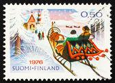 Postzegel finland 1976 kerstochtend rijden naar de kerk — Stockfoto