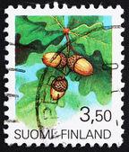 Ghiande di finlandia 1990 del francobollo, il frutto dell'albero della quercia — Foto Stock