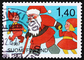 Postage stamp Finland 1987 Santa Claus and Youths — Stock Photo