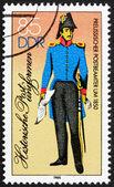 Postzegel gdr 1986 pruisische p.o. klerk, 1850 — Stockfoto