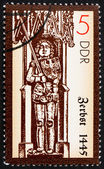 Postage stamp GDR 1989 Statue of Roland, Zerbst, 1445 — Stock Photo