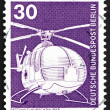 Postage stamp Germany 1975 Rescue Helicopter — Stok Fotoğraf #11732086