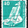 Postage stamp Germany 1975 Space Shuttle - Stock Photo