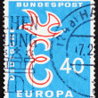 Postage stamp Germany 1958 E and Dove, EuropeIntegration — Foto Stock #11732291