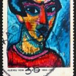 Postage stamp Germany 1974 Portrait in Blue by Alexej von Jawlen — Stock Photo