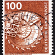 Postage stamp Germany 1975 Bituminous Coal Excavator - Stock Photo