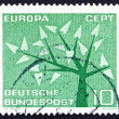 ストック写真: Postage stamp Germany 1962 Young Tree with 19 Leaves