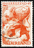 Postage stamp Netherlands 1945 Lion and Dragon, Liberation of Ne — Stock Photo