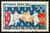 Postage stamp France 1959 French-Spanish Handshake — Stock Photo