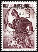 Postage stamp Austria 1971 Trout Fisherman — Stock Photo