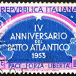 Postage stamp Italy 1953 Continents Joined by Rainbow — Stock Photo