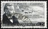 Erudito, poeta e selo postal itália 1955 giovanni pascoli — Foto Stock