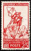 Znaczek włochy 1954 pinokio i grupy dzieci — Zdjęcie stockowe