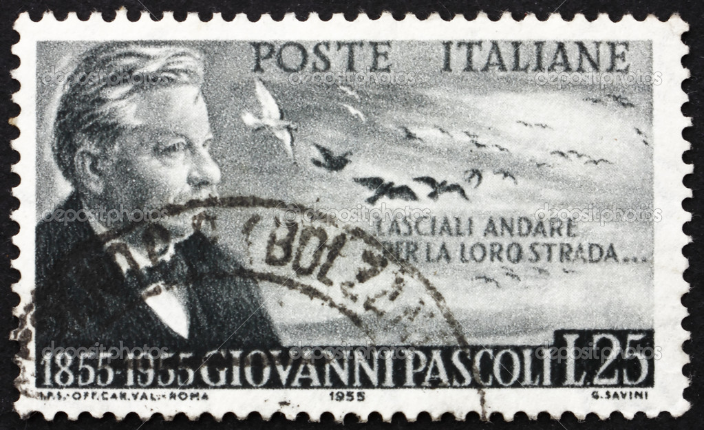 ITALY - CIRCA 1955: a stamp printed in the Italy shows Giovanni Pascoli, Poet and Scholar, Centenary of the Birth, circa 1955 — Stock Photo #11825830