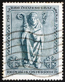Postage stamp Austria 1968 Bishop, Romanesque Bas relief — Stock Photo