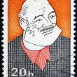 Foto Stock: Postage stamp Czechoslovaki1968 Caricature of Ernest Hemingway