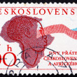 Postage stamp Czechoslovakia 1961 Woman, Map of Africa and Flag — Stock Photo