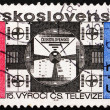 Stock Photo: Postage stamp Czechoslovaki1968 Symbolic Television Screen