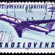 Stock Photo: Postage stamp Czechoslovaki1963 Tupolev Tu-104B Turbojet