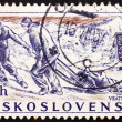 Foto Stock: Postage stamp Czechoslovaki1957 Rescue Team