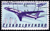 Postage stamp Czechoslovakia 1963 Tupolev Tu-104B Turbojet — Stock Photo