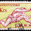 Postage stamp Czechoslovakia 1959 Hurdling, Olympic Sport - Stock Photo