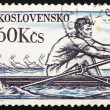 Postage stamp Czechoslovakia 1959 Rowing, Olympic Sport - Stock Photo